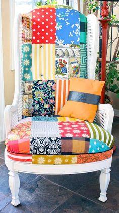 fauteuil patchwork, fauteuil vintage, dossier haut