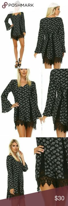 Black Floral Bell Sleeve Lace Trim Romper Super sweet, romantic romper!! Flattering fit!!  - Scalloped Edge Lace Trim - Ties in back - Lace inserts - Ditsy floral print on black - Long bell sleeves  100% Rayon, Contrast: 100% Cotton, Lining: 100% Poly. Shorts