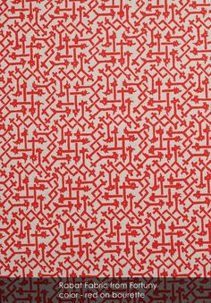 Rabat fabric from Fortuny in red on bourette