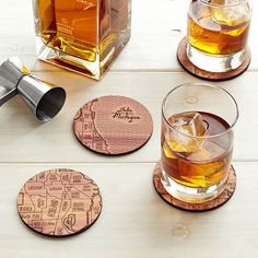 Celebrate your favorite locale with these cedar coasters that are etched with snippets of your urban grid.