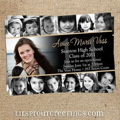 A graduation invitation with pictures of your graduate from newborn to Senior in High School. From Lil Sprout Greetings on etsy.com.