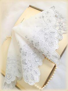 Vintage  Hankie Wedding Bride Hanky Embroidery by LollysCubbyHole