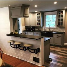 Kitchen Makeover Wall Mounted Swing out Seat / Suspended Cast Iron Swing Arm Home Decor Kitchen, Diy Kitchen, Kitchen Interior, Home Kitchens, Awesome Kitchen, Half Wall Kitchen, Kitchen Island Attached To Wall, Basement Kitchen, Farmhouse Kitchens
