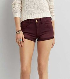 SOLD American Eagle Burgundy Shorts NWT AE burgendy denim x sateen material high rise shortie shorts size NWT with super stretch. 🚫No trades, 🅿️🅿️ or Ⓜ️🚫 American Eagle Outfitters Shorts Black Denim Shorts, Jean Shorts, Women's Shorts, Short Cuir, Stretch Shorts, Mens Outfitters, American Eagle Outfitters Shorts, Summer Outfits, Outfit