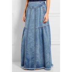 Chloé Frayed denim maxi skirt ($680) ❤ liked on Polyvore featuring skirts, blue maxi skirt, chloe skirt, floor length skirts, maxi skirt and denim skirt