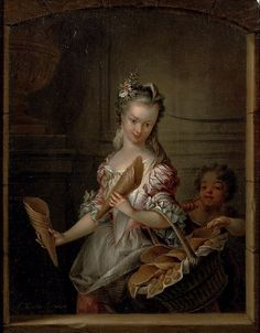 Woman selling waffles, 18th century by François Eisen (1695-1778)