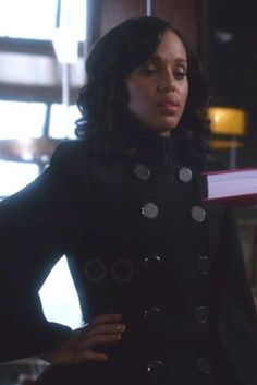 Kerry Washington wearing Prada Saffiano Luxe Tote Bag and Alexander McQueen Double Breasted Cape