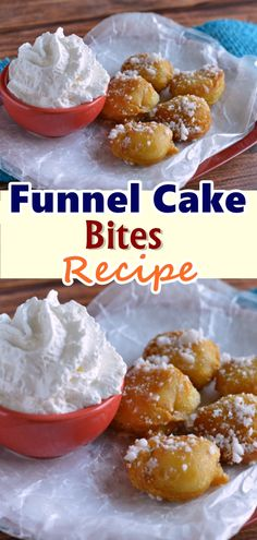 forget to Pin this so it will be SAVED to your timeline! these Funnel Cake Bites taste just as good if not better than what you find at your local fair. These are made in the comfort of your own kitchen and can be enjoyed all year round! Fun Desserts, Delicious Desserts, Dessert Recipes, Yummy Food, Snacks Recipes, Homemade Desserts, Waffle Recipes, Deep Fried Desserts, Dessert Healthy