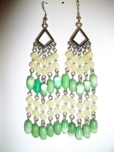 Green and Yellow Chandelier Earrings by mwadsworth on Etsy, $4.50