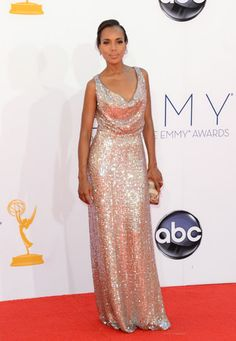Emmys 2012: The Best of the Red Carpet - Kerry Washington brings the glamour in a champagne-hued gown by Vivienne Westwood.