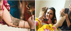 Mehandi ceremony: The bride's sister-in-law or brother-in-law brings Mehandi which is then applied by a professional or any family member on her hands and feet.