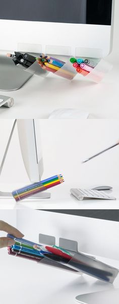 Attachable Triangle Pen Holder will bring you extra space to keep your favorite pens within reach. Attach these pen holders on your computer or desk!