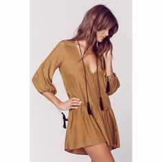 NWT ✨ MONTEREY SILK MINI DRESS // retails for $275 •Silk blend •Dry clean only •Unlined •Neckline keyhole with tie closure •Pleated detail •Sleeve tie detail •Tassel accents For Love and Lemons Dresses Long Sleeve