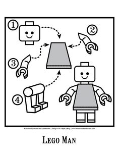 Lego Birthday Party -Lego Man Diagram free download from Hearts and Laserbeams