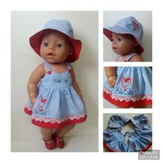 Best 12 Baby doll Clothes patterns – dress, bloomers, jammies, coat, etc – SkillOfKing. Knitting Dolls Clothes, Doll Clothes Patterns, Crochet Clothes, Baby Born Clothes, Bitty Baby Clothes, Build A Bear Outfits, Baby Boy Pictures, Baby Alive, Handmade Clothes
