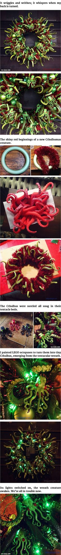 Cthulhu-Themed Christmas Wreath! So Many Tentacles. Merry Cthulhumas!