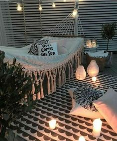 Outdoor living outdoor style hammock porch outdoor lights lanterns rope lights deck rustic modern home decor diy decor diy home decor apartment living rooftop outdoors rug lights here comes the sun pillow cozy hangout outdoor entertainment Room Goals, Home And Deco, Dream Rooms, House Rooms, Apartment Living, Rustic Apartment, Apartment Bedrooms, Living Rooms, Cozy House