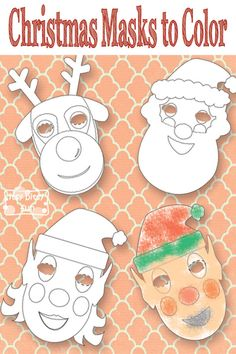 Christmas Masks to Color