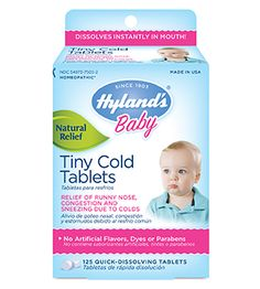 Whether your baby is 6 months or 3 years old, a nasty cold doesn't care. Sniffles and coughs barge into a healthy baby's system as fast as a sneeze and a bless you! Our Tiny Cold Tablets are just as pushy. They pull up the welcome mat fast and shoo away runny noses and congestion.*  Relief comes in and insists that the cold germs take a hike. No need for artificial anything. Just all natural cold medicine that knows its place and does its job.