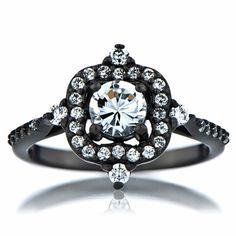 Emmeline's Vintage Style Black Engagement Ring - Cubic Zirconia