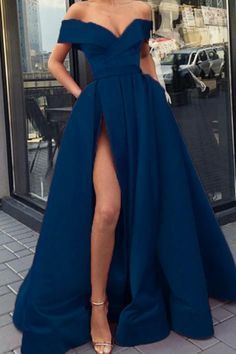 navy blue prom dresses long satin split evening gown off the.- navy blue prom dresses long satin split evening gown off the shoulder - Senior Prom Dresses, Prom Outfits, Prom Dresses Blue, Dresses For Teens, Ball Dresses, Sexy Dresses, Prom Gowns, Split Prom Dresses, Navy Summer Dresses