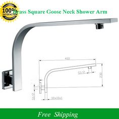 Free Shipping Wall Mount Square Brass Goose Neck Shower Arm Shower Head  Extension Top Quality Female