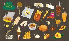 Check out an amazing inventory of what to eat on the street in Hong Kong from HK Magazine.Illustrations by Pierre Pang and Ryan Chan.