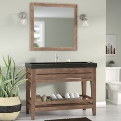 From loft-worthy looks to simple, utilitarian stylings, this bold bathroom vanity is sure to fit your well-curated aesthetic. Defined by a clean-lined, solid wood design with a black-finished stone top, this Single Bathroom Vanity, Bathroom Vanities, Master Bathroom, Bathroom Ideas, Jack And Jill Bathroom, Mirror Backsplash, Vanity Set With Mirror, Door Furniture, Bathroom Essentials