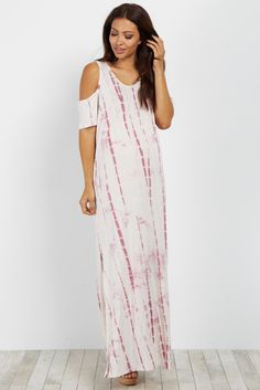 8f6b554fbeb202 Mauve Tie Dye Cold Shoulder Maternity Maxi Dress