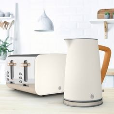 STP2091WHTN | Swan Kettle and Toaster Set | White | ao.com White Kettle, Kettle And Toaster Set, Thing 1, Scandinavian Style, Swan, Home Kitchens, New Homes, Kitchen Ideas