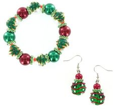 $39.99 Gorgeous hand-painted beads create this unique and expressive bracelet and earrings set. Fun Holiday theme with custom hand-painted glass beads with style that brings the design to life. The paint is naturally dried to retain quality and color with real, quality glass that gives both shine and feel to each bead. Bracelets contain Triple Elastic Bands utilizing a synthetic material that is both lightweight and tough...