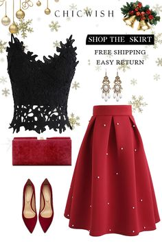 Best Christmas Eve Party Skirt, Check more at christmaseve. Look Fashion, Skirt Fashion, Unique Fashion, Fashion Dresses, Fashion Design, Fashion Clothes, Mode Outfits, Skirt Outfits, Party Skirt