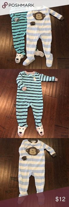 """Bundle of 2 Carters Boys' Footed Pajamas - 18 mos 2 flannel onesie footed pajamas from Carter's.  The gender is technically boys, but my daughter was so lucky to have worn these too,  because we love hand-me-downs in my house!  100% polyester, super soft and """"fleecy"""" , zips from chin to ankle, gripper footies for those kiddos on the move :). In perfect used condition! Bundle and save big! No trades! Reasonable offers considered! Questions? Ask away! Carter's Pajamas"""