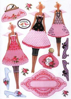 Printables - would look pretty to decoupage Paper Art, Paper Crafts, Tilda Toy, Cute Clipart, Vintage Paper Dolls, Soft Dolls, Kirigami, Sticker Paper, Stickers
