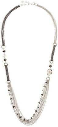 ShopStyle: GreenbeadsMixed Chain Crystal Bead Necklace, Silvertone/Gunmetal