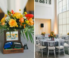 Orange and Yellow Wedding Centerpieces in Cigar Boxes | Yellow, Orange and Grey Wedding Décor Ideas | Tampa Wedding Photographer Roohi Photography | Downtown Tampa Wedding Venue The Vault
