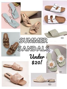 Sunmer sandals, birkenstock dupes, slides under $20, sandals on sale, shein sandals