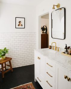 Before and After Master Bathroom Reveal Black Hexagon Tile Marble Vanity