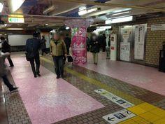 アサヒビール・アサヒスーパードライ|東京メトロ上野駅 特殊展開(壁面・柱巻・天井・フロア)