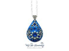 Blue Glow In The Dark Pendant Handmade Polymer Clay Jewelry