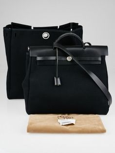 6c52d66f8580 Hermes 35cm Black Canvas and Leather Herbag MM 2-in-1 Bag