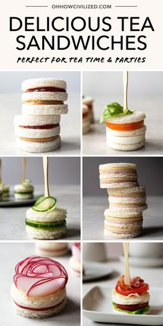 24 Delicious Tea Sandwiches Perfect for Tea Parties 15 Delightful tea sandwiches to make for your ne Tea Party Sandwiches Recipes, Finger Sandwiches, Sandwich Recipes, High Tea Sandwiches, Picnic Recipes, Afternoon Tea Recipes, Afternoon Tea Parties, Tea Party Menu, Sandwich Fillings