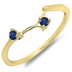 0.10 Carat (ctw) 10K Gold Round Blue Sapphire Ladies Anniversary Wedding Matching Guard Band 1/10 CT *** Special  product just for you. See it now! : Wedding Ring Enhancers