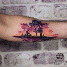 80 Ridiculously Cool Tattoos For Men – TattooBlend Beautiful sunset tattoo by Koray Karagozler Sunset Tattoos, Nature Tattoos, Body Art Tattoos, Sleeve Tattoos, Cool Tattoos For Guys, Trendy Tattoos, Unique Tattoos, Colorful Tattoos, Beautiful Tattoos