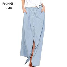 Long Skirt 2016 Summer Women Saia Middle Waist Slit Skirts Straight Casual Denim Saias Plus Size Petticoat With Button