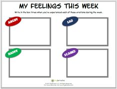 Work with children to identify the feelings they experience day to day using this worksheet by Mylemarks. See more feelings resources at www.mylemarks.com!