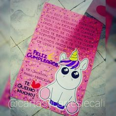 Carta pequeña! Wsp:3205797879 Cuenta oficial @cartasycarteslecali Unicorn Valentine, Valentine Day Boxes, Birthday Cards, Birthday Gifts, Happy Birthday, Diy And Crafts, Paper Crafts, Presents For Friends, Diy Gifts For Boyfriend