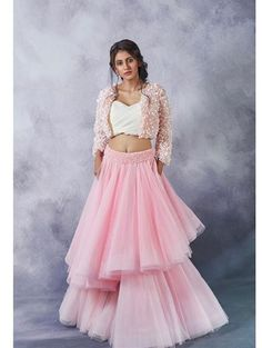 Buy Pink And White Color Crop Top Skirt by Akanksha Singh at Fresh Look Fashion Wedding Lehenga Designs, Designer Bridal Lehenga, Lehenga Designs Latest, Indian Designer Outfits, Designer Dresses, Lehenga Pattern, Frock Fashion, Fashion Usa, Stylish Blouse Design