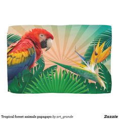 Tropical forest animals papagayo hand towels