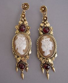 Victorian cameo earrings with garnets ==would LOVE these in black and red or black and grey!